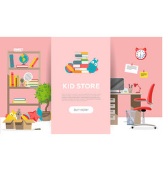 childens goods shop landing page in flat cartoon vector image