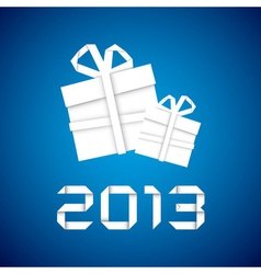 Christmas gift from white paper new year card vector image