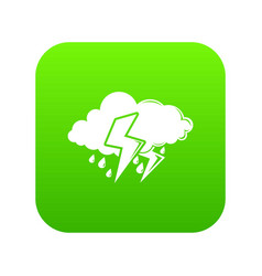 cloud lightning icon green vector image