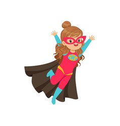 Comic happy flying kid in colorful superhero vector