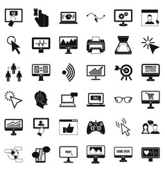Computer equipment icons set simple style vector
