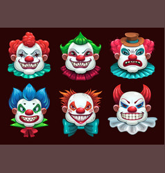 Creepy clown faces set scary circus concept vector