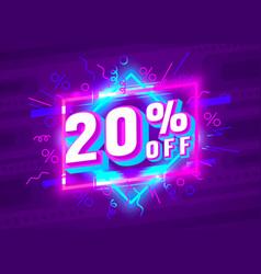 Cyber 20 off sale banner light neon flyer retro vector