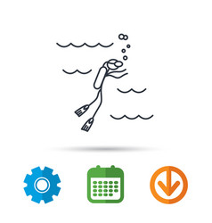 Diving icon swimming underwater with tube sign vector