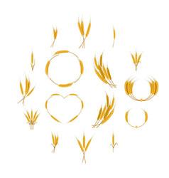 Ear corn food icons set cartoon style vector