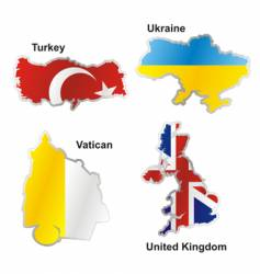 flags in map shape vector image