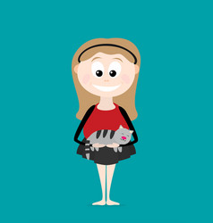 flat funny girl with cat vector image