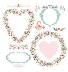 floral frames and graphic elements vector image