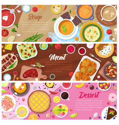 Food cooked meal soup meat and sweet vector