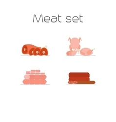 Foods market meat flat icons set vector image