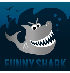 Funny shark with surfer vector