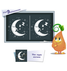 Game find 9 differences moon vector