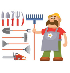garden equipment flat set gardener vector image