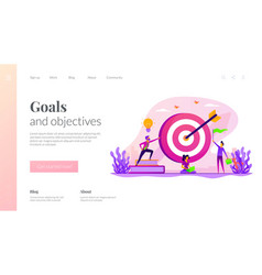 Goals landing page template vector
