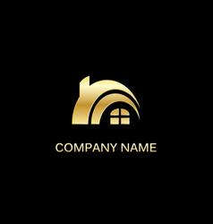 gold house realty company logo vector image