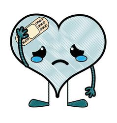 Grated crying heart with aid band kawaii character vector