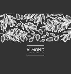 Hand drawn sketch almond design template organic vector