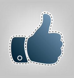 hand sign blue icon with vector image