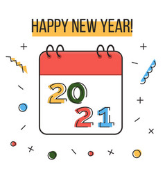 happy new year 2021 greeting card colorful liner vector image