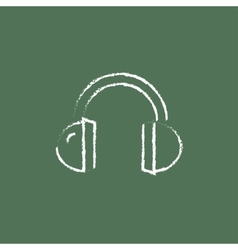 Headphone icon drawn in chalk vector