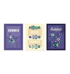 hello summer cards set summer time banner poster vector image