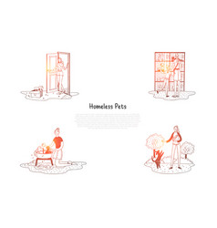Homeless pets - animals in cages vector
