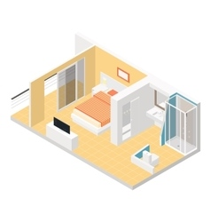 Hotel room isometric detailed set vector image