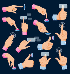 Human hands arm fingers pushing buttons set vector