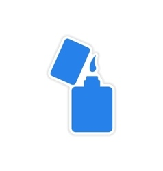 Icon sticker realistic design on paper lighter vector