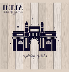 Indian gate temple with wooden background vector