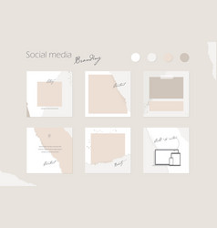 Instagram feed template ripped paper pach vector