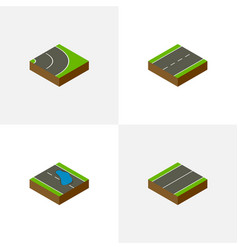 Isometric way set of asphalt plash plane and vector