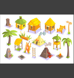 Jungle tribal living houses and other objects vector