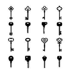 Key silhouette house access old and modern key vector