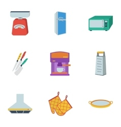 Kitchen set icons in flat style big collection of vector