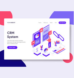landing page template crm system concept vector image