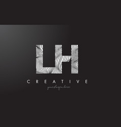 Lh l h letter logo with zebra lines texture vector