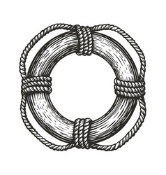 Lifebuoy with ropes in style engraving travel vector