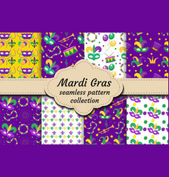 Mardi gras carnival set of seamless pattern with vector