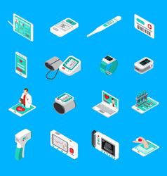 Medical gadgets isometric icons vector