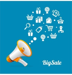 Megaphone and icon Big sale concept vector image