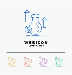 money bag dollar growth stock 5 color line web vector image