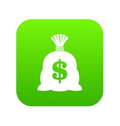 money bag with us dollar sign icon digital green vector image