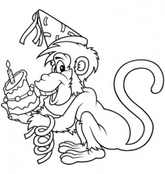 monkey and birthday cake vector image