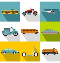 Movement icons set flat style vector