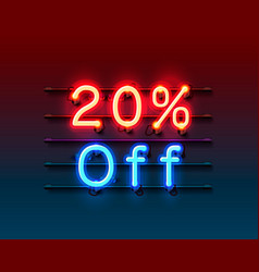 Neon frame 20 off text banner night sign board vector