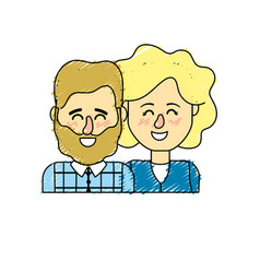 Nice couple with hairstyle design vector