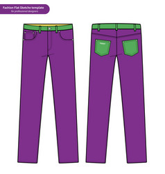 Pants jeans fashion flat technical drawing vector