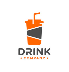 plastic beverage glass logo design vector image