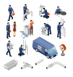 plumber isometric icons set vector image